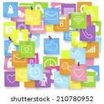 social media icons on note pad. | Shutterstock .eps vector #210780952