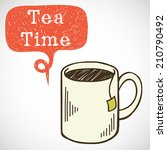 coffee break illustration. hand ... | Shutterstock .eps vector #210790492