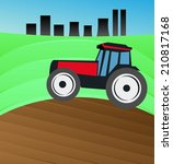 tractor plowing the field | Shutterstock .eps vector #210817168