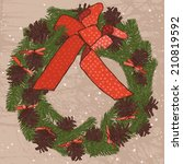 christmas wreath with red... | Shutterstock .eps vector #210819592