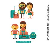 characters. travellers. flat... | Shutterstock .eps vector #210833632