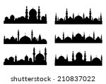 six black silhouettes of... | Shutterstock .eps vector #210837022