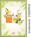 beach bar poster with a... | Shutterstock .eps vector #210839032