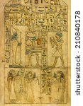 egyptian hieroglyphs engraved...   Shutterstock . vector #210840178