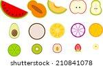 cute half fruits | Shutterstock .eps vector #210841078