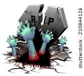 creepy zombie hands on cemetery | Shutterstock .eps vector #210844126