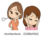 daughter who cowers  mother who ... | Shutterstock .eps vector #210864562