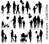 black set of silhouettes of... | Shutterstock . vector #210872986