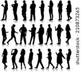 black silhouettes of beautiful... | Shutterstock . vector #210873265
