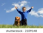boy and dog in clouds | Shutterstock . vector #2109148