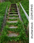 Old Wooden Staircase In The...