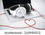 Headphones Heart On White...