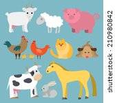 flat design domestic animals | Shutterstock .eps vector #210980842