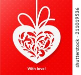carved heart on red background... | Shutterstock .eps vector #211019536