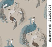 Seamless Pattern With Peacocks