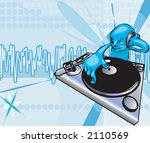 a funky dj mixing with... | Shutterstock .eps vector #2110569