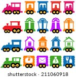 set colorful train with many... | Shutterstock .eps vector #211060918