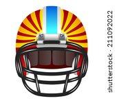 red american football helmet...
