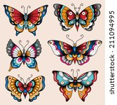set of old school tattoo art... | Shutterstock .eps vector #211094995