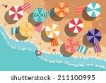 summer beach in flat design ... | Shutterstock .eps vector #211100995