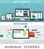 set of flat design concepts for ... | Shutterstock .eps vector #211105312