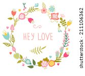 floral frame. cute retro... | Shutterstock .eps vector #211106362
