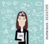 woman thinking   vector    Shutterstock .eps vector #211117192