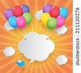 balloons  cloud speech bubble... | Shutterstock .eps vector #211120276