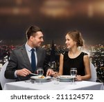 restaurant  couple and holiday... | Shutterstock . vector #211124572