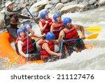 white water rafting team in... | Shutterstock . vector #211127476