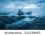 Shipwreck Or Wood Ship Broken...