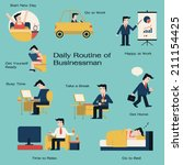 businessman in daily routine ... | Shutterstock .eps vector #211154425