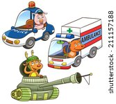 animal vehicle occupation... | Shutterstock .eps vector #211157188