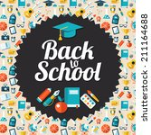 vector school flat design flyer ... | Shutterstock .eps vector #211164688