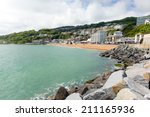 ventnor seafront and beach isle ... | Shutterstock . vector #211165936