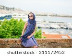 elegant french woman in cannes  ... | Shutterstock . vector #211172452