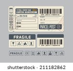 vintage stickers for parcel... | Shutterstock .eps vector #211182862