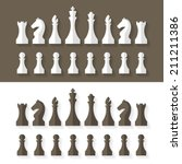 Chess Pieces Flat Design Style...