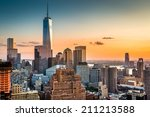 lower manhattan skyline at... | Shutterstock . vector #211213588