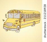 sketch cute school bus in... | Shutterstock .eps vector #211218928