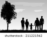 family silhouettes   Shutterstock .eps vector #211221562