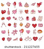 i love you doodle icon set... | Shutterstock . vector #211227655