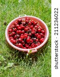 bowl with ripe red cherries on... | Shutterstock . vector #211236022