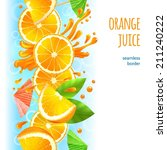sliced oranges with leaves and... | Shutterstock .eps vector #211240222