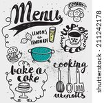 doodles themed around food and... | Shutterstock .eps vector #211242178