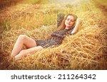 beautiful young brunette girl... | Shutterstock . vector #211264342