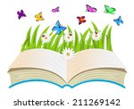 open book  flowers and...
