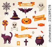 set of halloween ribbons and... | Shutterstock .eps vector #211289278