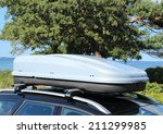 roof box on car with railing | Shutterstock . vector #211299985