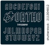 orthogonal projection font.... | Shutterstock .eps vector #211304812